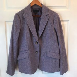 Talbots Lavender Wool Blazer with Back Ruffle